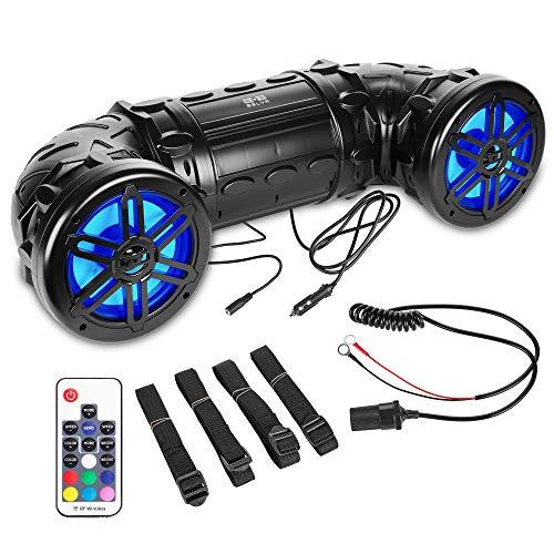 Belva BPS8RGB 600 Watt Bluetooth Enabled Dual 8-inch ATV/UTV/Powersports Sound System with LED Lights and Remote