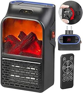 Ashey Calefactores portátil, Calentador de Pared de Llama - Salida de Aire del radiador Mini Control Remoto Chimenea eléctrica, Protección contra sobrecalentamiento, para Viajes de Oficina en casa