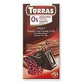 Torras Schokolade ohne Zucker | Zuckerfreie Schokolade | Schokolade ohne Zuckerzusatz, weniger Kalorien, Low Carb (kohlenhydratreduziert) | Geschmack: Dark Chocolate mit rotem Pfeffer, Zimt und Chili (1 x 75 g)