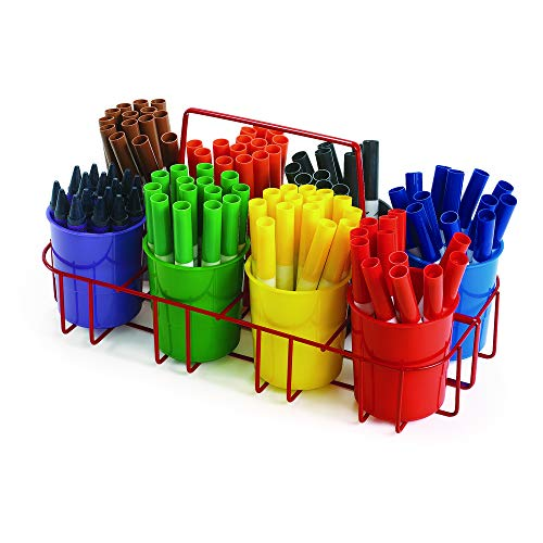 Colorations Marker Caddy & Stand, Art Supplies, Wire Organizer, Portable, Holds Crayons, Pencils, Paint Brushes, Collage Items, Scrapbook Supplies, Art Caddy, Sorting (Item # MARCAD)