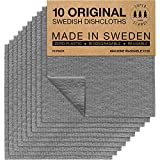 SUPERSCANDI Swedish Dish Clothes Grey 10 Pack Reusable Compostable Kitchen Cloth Made in Sweden Cellulose Sponge Dish Cloths for Washing Dishes