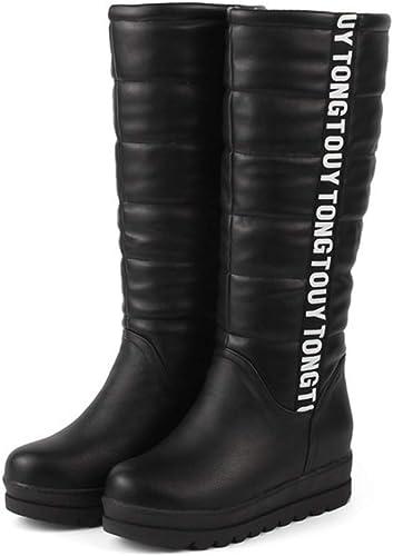 XSWE mujeres botas De Invierno, botas De Nieve con Forro De Piel, Caliente Al Aire Libre Botín Impermeable Antideslizante zapatos Aire Libre,negro,8UK