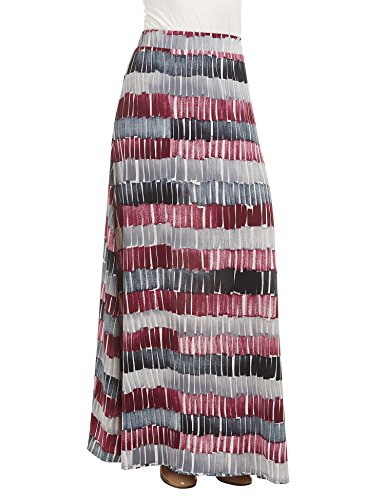 Lock and Love LL WB1448 Womens Printed Maxi Skirt with Waist Elastic Band XXXL Wine_Black (Apparel)