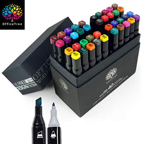 OfficeTree Marker Set 40 Stück - Twinmarker Faserstifte - Graffiti Stifte in Intensiven Farben zum Skizzieren Layouten Illustrieren Zeichnen Malen