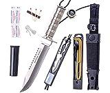 JKR 602- Cuchillo de Supervivencia, Modelo Battle King I, Funda Nylon-PVC Rígida, Kit Supervivencia.