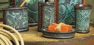 Black Forest Décor Floral Tooled Turquoise Bath Set - 3 pcs