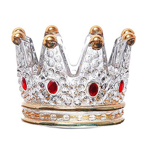 Fenteer Candelabro de Cristal de Corona Transparente para Boda, Fiesta, decoración del hogar, Bandeja de Almacenamiento de Joyas de Diamantes de Cristal, Piedra Roja