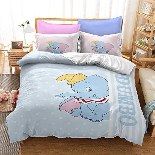 Meiju Duvet Cover Set for Boy Girl Single Double King Bed, 3D Printed Bedding Set Adults Teenager Children Kids Bedroom Microfiber Duvet Set with Pillowcases (Dumbo 4,140x200cm)