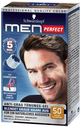 Schwarzkopf Men Perfect - Gel tintado antigris, nivel 2, 50 marrón claro