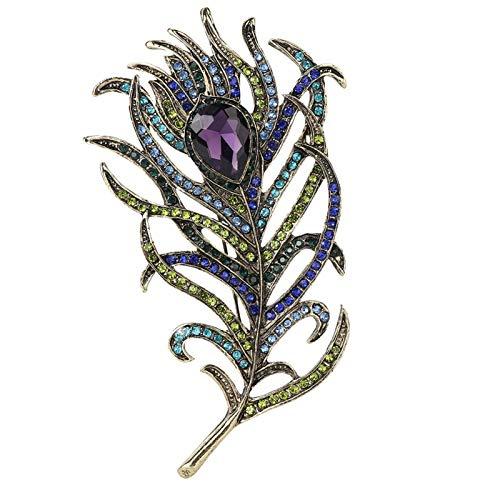 Versión coreana del broche de aleación de alta gama para mujer con diamantes y piedras preciosas, bufanda de seda para mujer, hebilla romántica de plumas de pavo real, exquisito broche de plumas