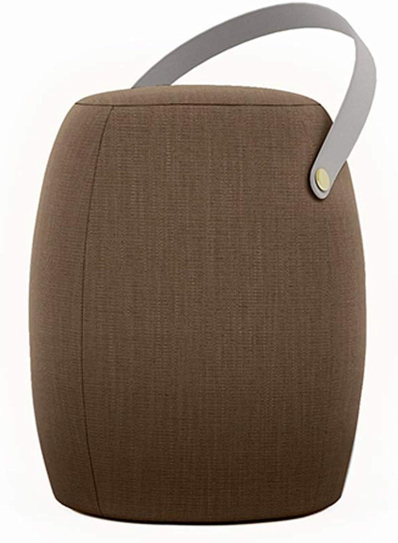 LCTCDY Cloth Round Cushion Stool Osman Stool, Brown Microfiber, Portable footrest (color   C)
