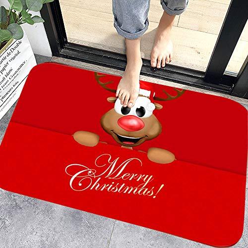 WELLXUNK® Navidad Antideslizante Felpudo, Alfombras de Decoración de Navidad Antideslizante y Absorbente, Alfombrillas Decorativas para el Salón el Baño la Cocina, Welcome Felpudo de Puerta (M5)