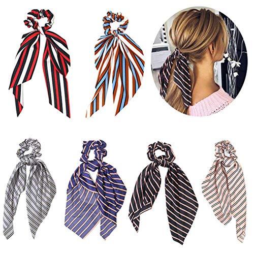 Yean Haargummi mit gestreifter Schleife, Polyester, Haar-Accessoires für Frauen und Mädchen (6 Stück) (A)