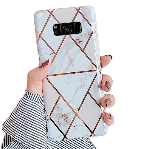 Coque Compatible avec Samsung Galaxy S8 Plus Étui Marbre Bord d'or Ultra Mince Souple TPU Silicone Motif Gel Case Placage Couture Protection Housse Anti-Rayures Antichoc Cover Bumper,Gris Clair