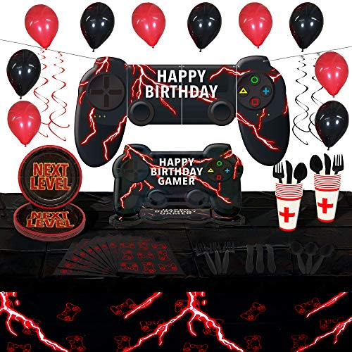 Video Game Party Supplies Set   Controller Shaped Plates   Serves 16   130+ Pieces   Video Game Decorations and Tableware   Large Video Game Happy Birthday Banner   Disposable Tableware