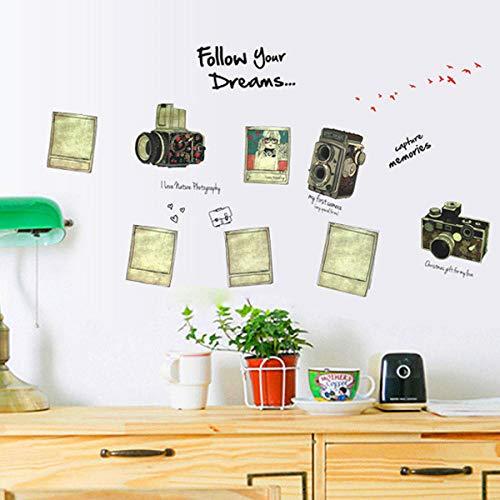 Cooldeer Retro Camera Drie generaties muursticker woonkamer studie slaapkamer wandtattoo