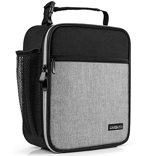 CARBATO Lunch Bag, Durable Insulated Lunch Box Reusable Adults Tote Bag Lunch Bag for Men, Women, Adults (Black Gray)