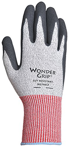 Wonder Grip WG788CFXL ANSI 4 Cut-Resistant Knit Work Gloves Textured Black Double-Coated Nitrile Palm Wet or Dry Grip, X-Large