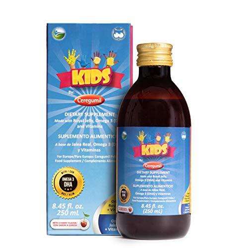 Ceregumil Barn vitaminer rik på vitamin D3 till hjälper till att öka tänder och ben + vitamin C, vitaminer D3, tiamin vitamin B6 och vitamin B12 ( Metylcobalamin B12 ), immunförstärkare med Algae Omega 3 DHA EPA-tillskott komplett flytande barn multi