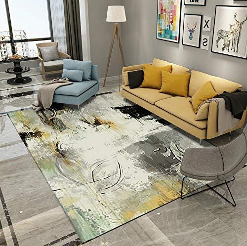 HXJHWB Alfombra Lavables Moquetas - Sofá Mesa de Centro Pintura de Tinta Creativa Alfombra Interior Moda impresión 3D Terciopelo Corto Antideslizante-El 120CMx180CM