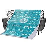 Spanish Mom Blanket Regalos para Mamá - Spanish Mom Gifts for Mama en Español for Christmas / Navidad, Birthday / Cumpleaños. Plush Throw Blanket to Say Te Amo Mama (Teal, Sherpa)