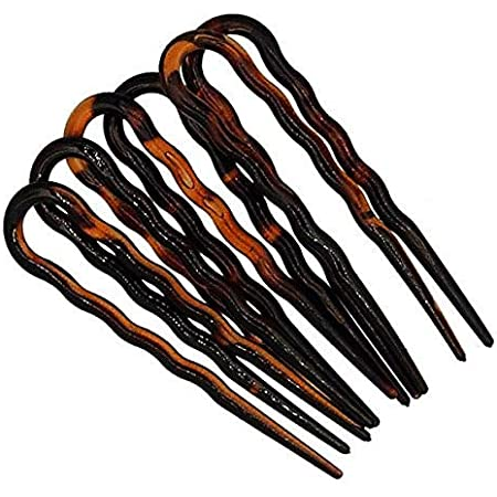 298-003 - Set 6 pezzi forcine per capelli ondulate cm 7 made in Italy - Mollette forcine per capelli e accessori chignon (Tartaruga)