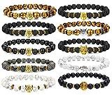 FIBO STEEL 10 Pcs Lava Rock Stone Bead Bracelet for Men Women Leopard Head Bracelet Set Adjustable 8MM Stone