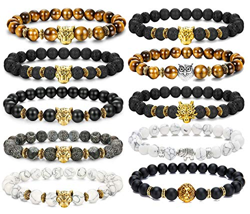 FIBO STEEL 10 Pcs Lava Rock Stone Bead Bracelet for Men Women Leopard Head Bracelet Set Adjustable 8MM Stone