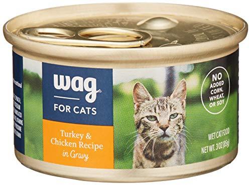 Amazon Brand - Wag Wet Cat Food, Turkey & Chicken Recipe in Gravy, 3 oz Can (Pack of 24)