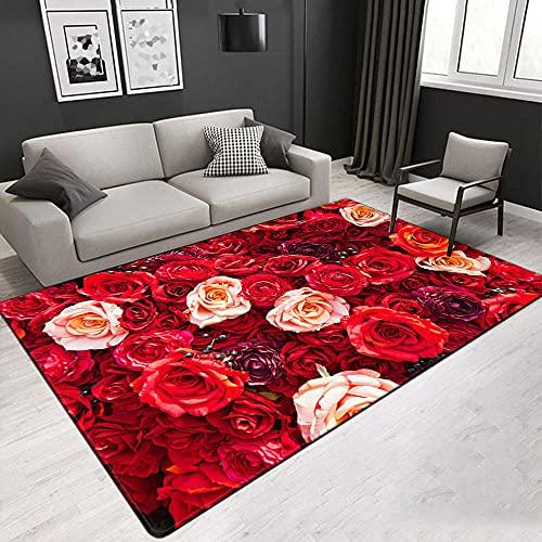 Rosa Roja Alfombra Antideslizante Impresa En 3D 120X170 Cm Alfombra De Franela Suave,Adecuada para Sala De Estar Y Dormitorio