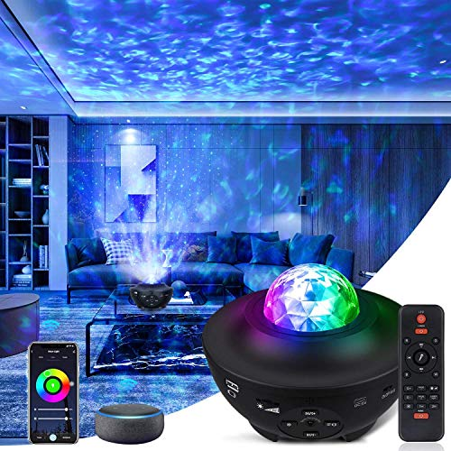 LED Galaxy Light Projector Star Night Light Projector Sky Light Projector, Remote Control 10 Colors Ambiance with Bluetooth Music Speaker for Baby Kids Adult Bedrooms Birthday Deeply Sleep