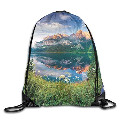 Bolsa con cordón para deporte, gimnasio, verano, mañana, en el lago, Alpes austriacos, espejo de cristal, para la temporada, con cordón, mochila de gimnasio, mochila para hombres y mujeres