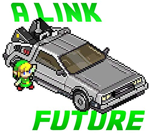 Okiwoki T-Shirt Noir Zelda parodique Link et la Delorean de Retour vers Le Futur : A Link to The Past and Future (Parodie Zelda)