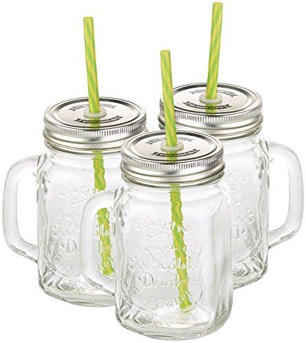 PEARL Retro Gläser: Retro-Trinkglas mit Henkel, Deckel und Trinkhalm, 3er-Set (Glas mit Henkel)