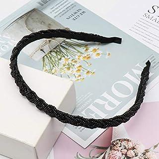 YJXUSHYQ Fashion Bezel Twist Velvet Braid Headband for Women Solid Color Thicken Hairband Hair Accessories (Color : Brown,...