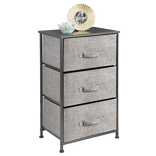 mDesign Extra Wide Dresser Storage Tower - Sturdy Steel Frame, Wood Top, Easy Pull Fabric Bins - Organizer Unit for Bedroom, Hallway, Entryway, Closet - Textured Print, 5 Drawers - Black/Graphite Gray