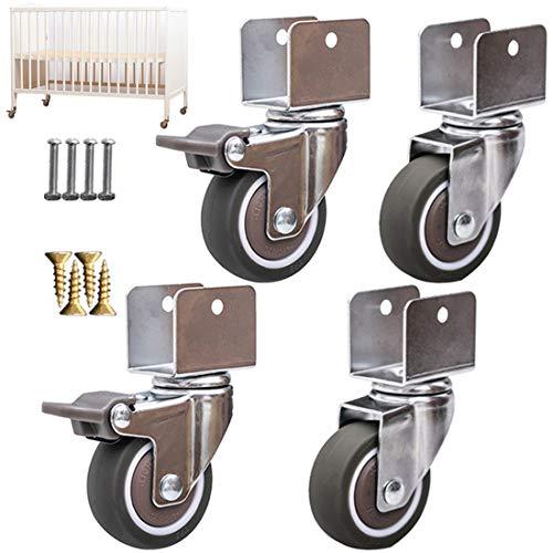 Crib Swivel Caster Wheels with U-Bracket, 2' 50mm Furniture Caster Wheels,Moving Swivel Wheel,Heavy Duty Castor Wheels,TPE Rubber Replacement Caster,Load 75Kg,4pcs(Brake+universal16mm/0.6in)
