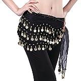 LQZ(TM) cinturón de seda para danza del vientre, para mujer o niña negro Gratis, 150*30cm