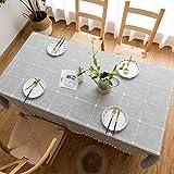 BH-JJSMGS Quadratische Karierte gestickte Tischdecke mit Fransen, einfarbige rechteckige Tischdecke aus Leinen AA 90 * 140 cm