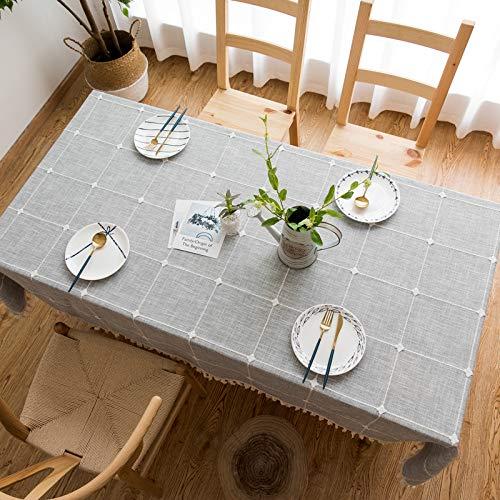 BH-JJSMGS Quadratische Karierte gestickte Tischdecke mit Fransen, einfarbige rechteckige Tischdecke aus Leinen AA 140 * 180 cm