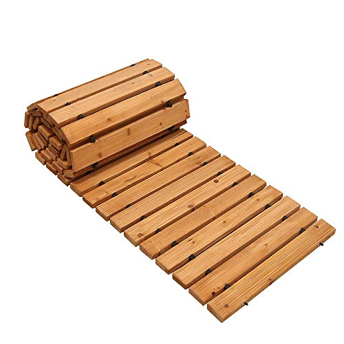 Reliancer 8' Wooden Garden Pathway Weather-resistant Straight Walkway Roll Out Cedar Outdoor Patio Path Rustic Decorative Garden Boardwalk Walkways Roll Up Beach Wood Road Floor Wedding Party Pathways