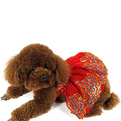 SEIS New Year Dog Peacock Dress Cat Cheongsam Winter Pet Skirt Costume of The Tang Dynasty Christmas...