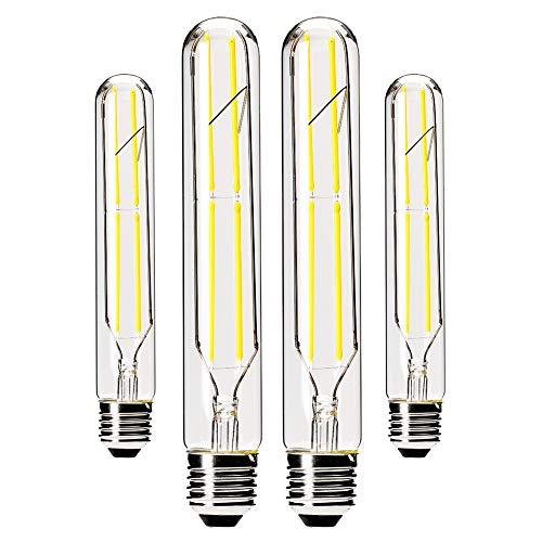 Dimmable T10 LED Bulbs,4000K Daylight White,6W Tubular Light Bulb, Edison LED Bulb 60 Watt Equivalent,E26 Medium Base 600LM, Clear Glass Cover,7.3in(185mm),4-Pack