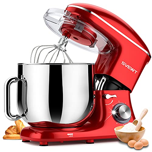 Stand Mixer, 8.5 QT 660W 6 Speed Tilt-Head Food Dough Mixer, Electric Kitchen Mixer with Dough Hook, Wire Whip and Beater Attachments for Family Gathering, Red…