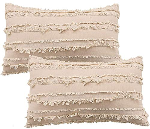 MeMoreCool - Set di 2 federe decorative per cuscini, in stile boho, super morbide, per divano, camera da letto, soggiorno, auto, Cotone, cachi, 30 x 50 cm