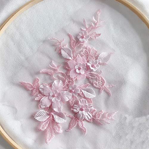 HUIJUNWENTI 1PCS Farben der Blumen-3D SpitzeApplique Perlen Bestickt-Material Trim for DIY Brautkleid Schleier Zubehör (Color : Pink)