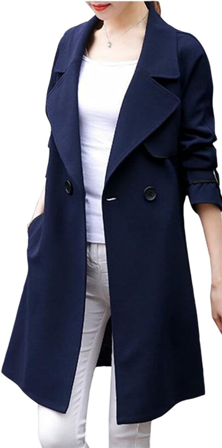 HTOOHTOOH Women's Solid color Long Sleeves Notched Lapel Single Breasted Belted Trench Coat