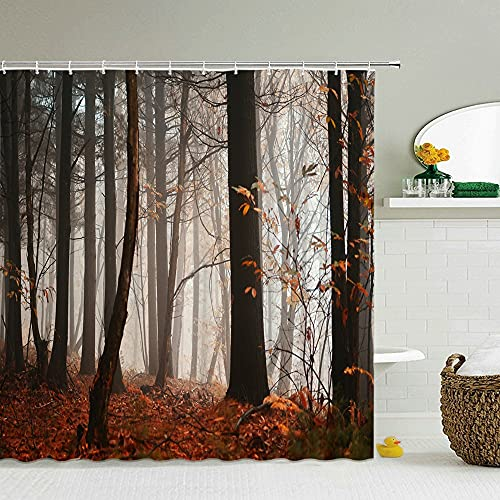 XCBN Duschvorhang 3D-Druck Fensteransicht Wald Duschvorhang Wasserdicht Badvorhang Waschbares Tuch Mit Haken A10 180x200cm