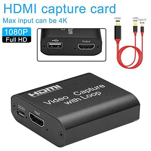 HDMI zu USB 2.0 Loop Out Grafik-Aufnahmekarte Videoaufzeichnungsbox Spiel Live-Streaming Digitaler Videorecorder Mic In Audio Out