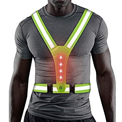 LED Reflective Gear, Safety Vest with 360° High Visibility, Reflective Running Vest with Adjustable Elastic Belt for Men, Women, Runners, Night Walkers, Bikers, Fits Jogging, Cycling, Dog Walking